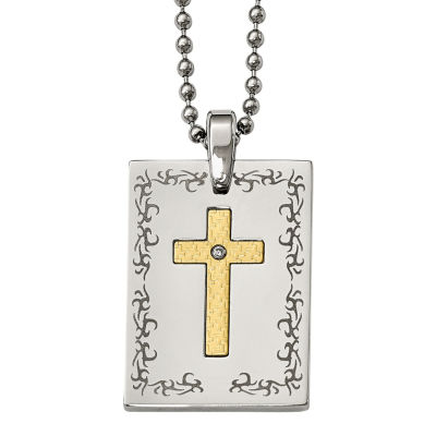 Mens Diamond Accent Stainless Steel & 18K Yellow Gold Polished Cross Pendant