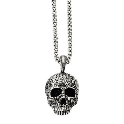 Mens Stainless Steel Antiqued & Textured Skull Pendant