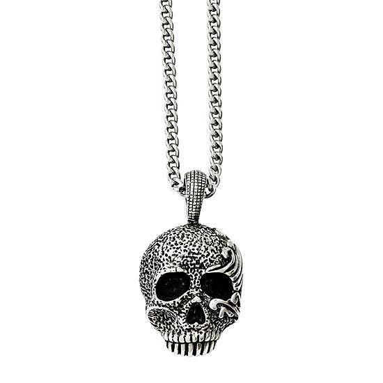 Mens Stainless Steel Antiqued & Textured Skull Pendant