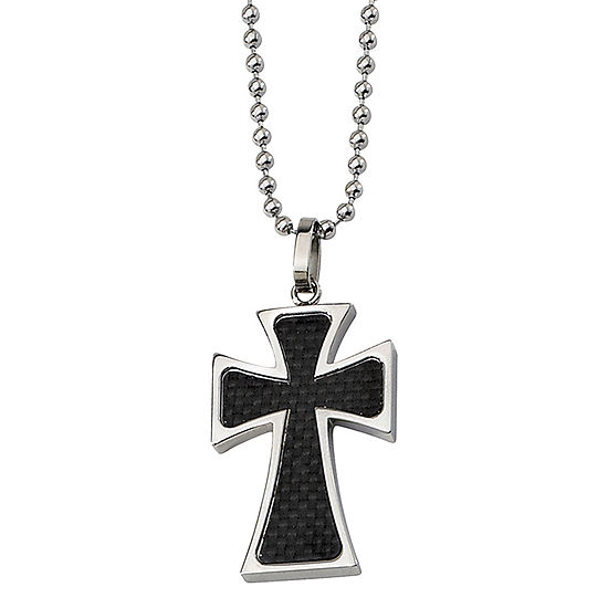 Mens Stainless Steel Carbon Fiber Cross Pendant