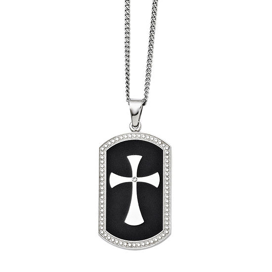 Mens Cubic Zirconia Stainless Steel Black Ip-Plated Dog Tag Cross Pendant