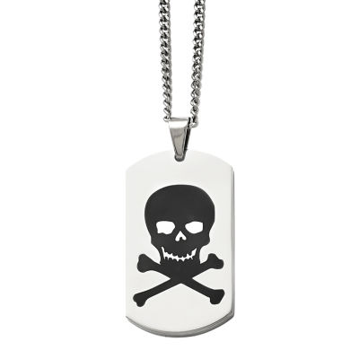 Mens Stainless Steel Black Enamel Skull Dog Tag Pendant