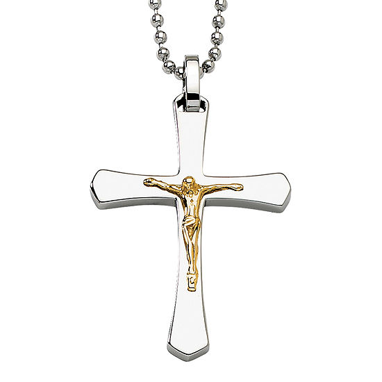 Mens Stainless Steel 14K Yellow Gold Accent Crucifix Pendant