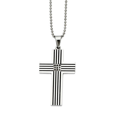 Mens Color-Enhanced Black Diamond Accent Stainless Steel Black-Plated Cross Pendant