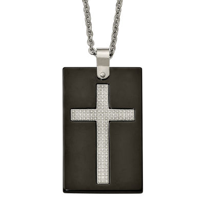 Mens Cubic Zirconia Stainless Steel & Black Ceramic Cross Pendant