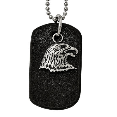 Mens Stainless Steel Black Leather  Eagle Dog Tag Pendant