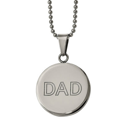 "Mens Stainless Steel ""Dad"" Circle Pendant"