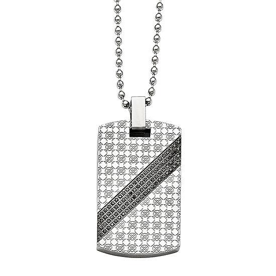 Mens 1 2 Ct Tw Diamond Stainless Steel Dog Tag Pendant