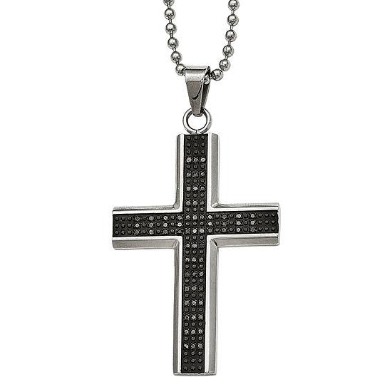 Mens 1/2 CT. T.W. Color-Enhanced Black Diamond Stainless Steel Cross Pendant
