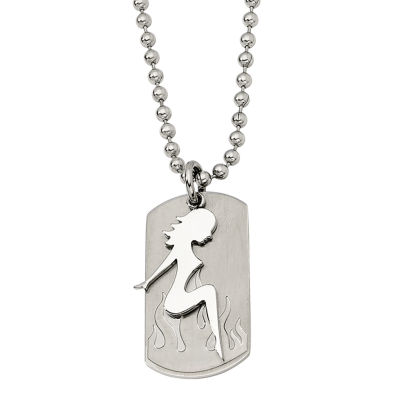 Mens Stainless Steel Pin-Up Girl Dog Tag Pendant