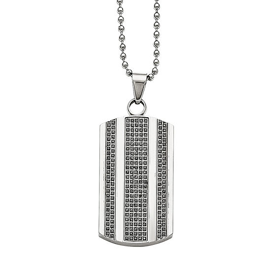 Mens 1 CT. T.W. Diamond Stainless Steel Dog Tag Pendant