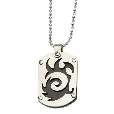 Mens Stainless Steel Black Ion-Plated Swirl Dog Tag Pendant