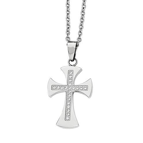 Mens Cubic Zirconia Stainless Steel Cross Pendant