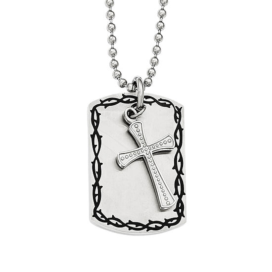 Mens Stainless Steel Antiqued 2 Piece Pendant