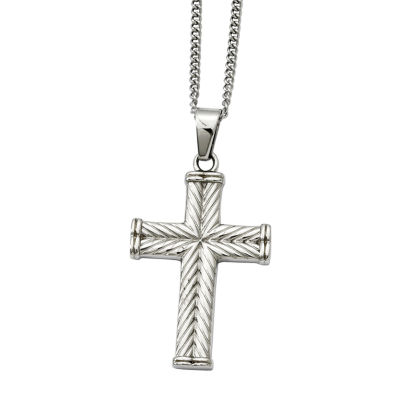 Mens Stainless Steel Textured Cross Pendant