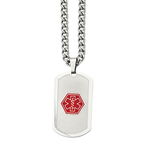 Mens Stainless Steel Dog Tag Medical Pendant