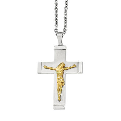 Mens Stainless Steel Yellow Ion-Plated Crucifix Pendant