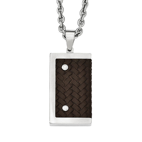 Mens Stainless Steel & Brown Leather Pendant