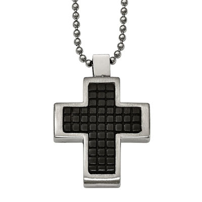 Mens Stainless Steel Black Ion-Plated Textured Cross Pendant