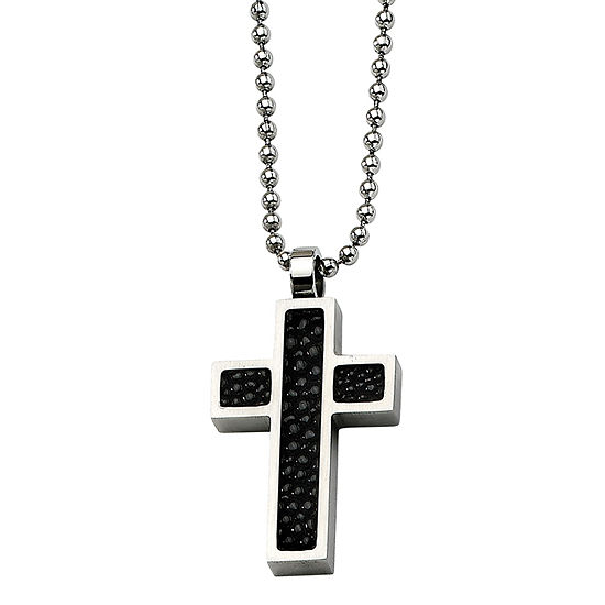 Mens Stainless Steel Black Stingray Leather Cross Pendant