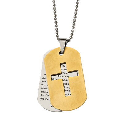 Mens Stainless Steel Yellow Ion-Plated Lords Prayer Cross Pendant