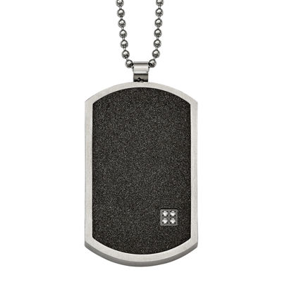 Mens Cubic Zirconia Stainless Steel & Black Ion-Plated Dog Tag Pendant