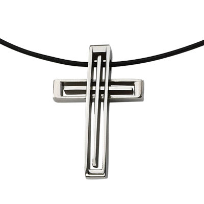 Mens Stainless Steel Leather Cord Cross Pendant
