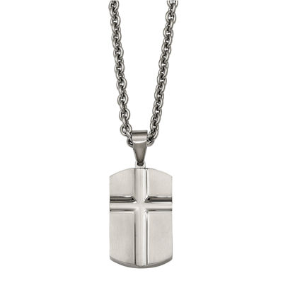 Mens Stainless Steel Carved Cross Dog Tag Pendant
