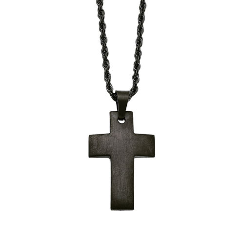 Mens Stainless Steel Black Ion-Plated Cross Pendant