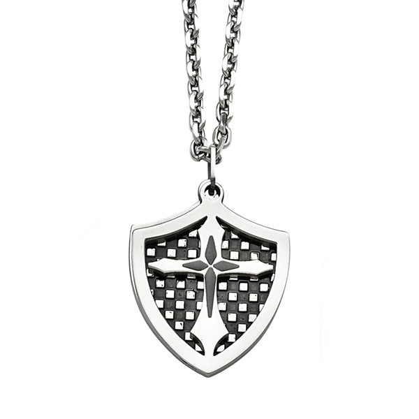 Mens Stainless Steel Black Ion-Plated  Shield Pendant