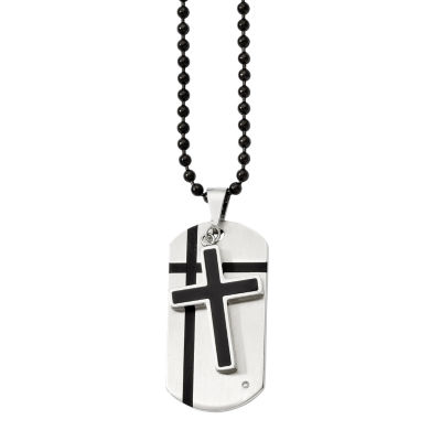 Mens Cubic Zirconia Stainless Steel & Black Enamel Cross Dog Tag Pendant