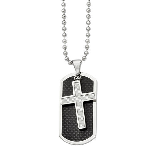 Mens Stainless Steel Carbon Fiber Cross & Dog Tag Pendant