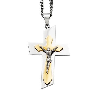 Mens Stainless Steel Gold Ion-Plated Crucifix Pendant