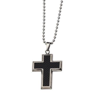 Mens Titanium Black Carbon Fiber Cross Pendant