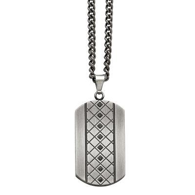 Mens Cubic Zirconia Stainless Steel Pendant