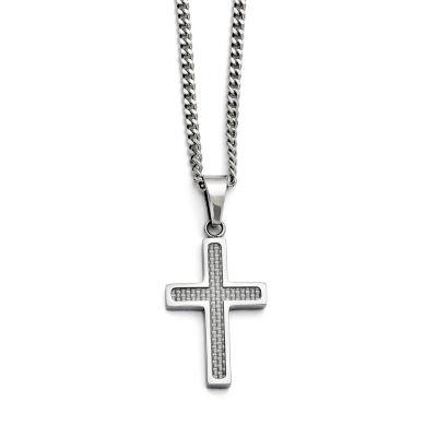 Mens Stainless Steel Grey Carbon Fiber Cross Pendant