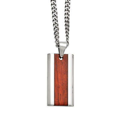 Mens Stainless Steel Wood Inlay Pendant