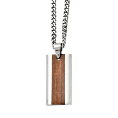 Mens Stainless Steel Brown Wood Inlay Pendant