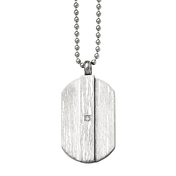 Mens Cubic Zirconia Stainless Steel Pendant