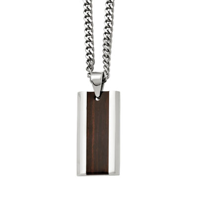 Mens Stainless Steel Black Wood Inlay Pendant