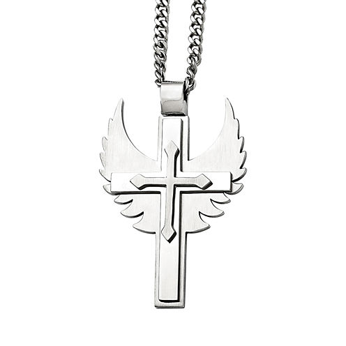 Mens Stainless Steel Winged Cross Pendant