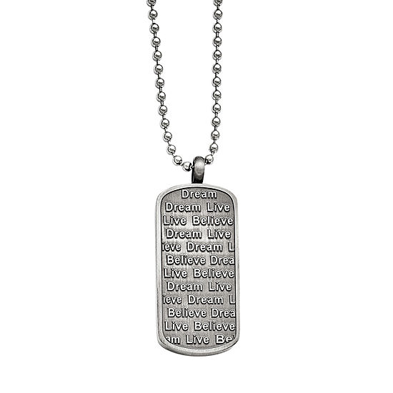 Mens Stainless Steel Antiqued Live Dream Believe Pendant