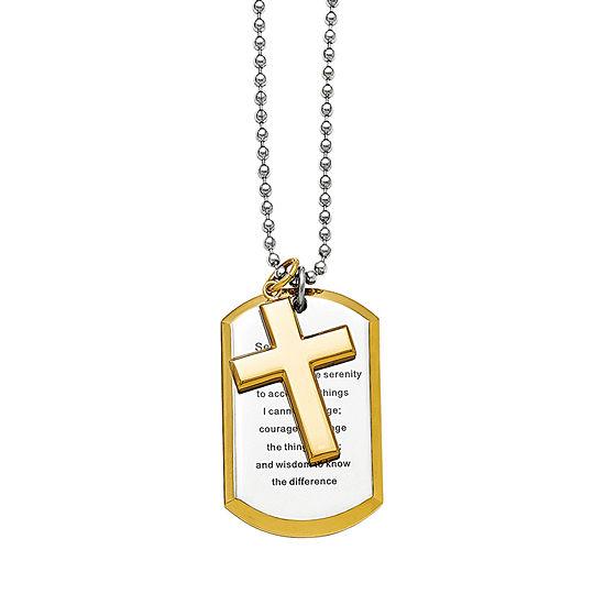 Mens Stainless Steel Serenity Prayer & Cross Pendant