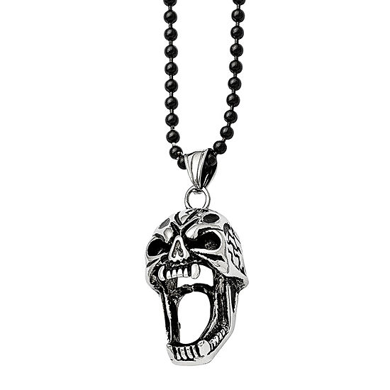Mens Stainless Steel Antiqued Skull Pendant