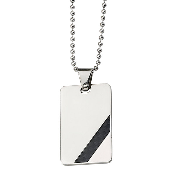 Mens Stainless Steel Black Carbon Fiber Pendant