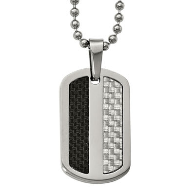 Mens Stainless Steel Black& Gray Carbon Fiber Dog Tag Pendant