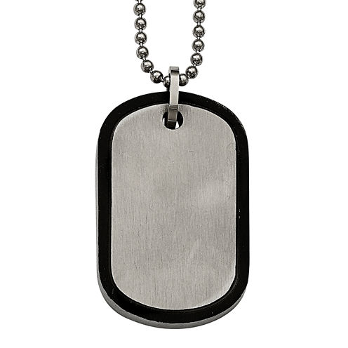 Mens Stainless Steel Black Edged Dog Tag Pendant