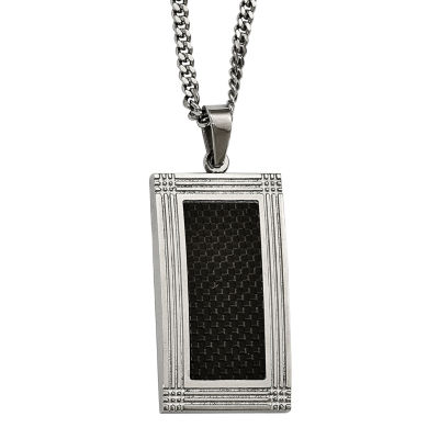 Mens Stainless Steel & Black Carbon Fiber Pendant