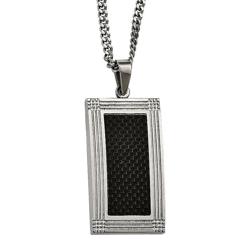 Mens Stainless Steel & Black Carbon Fiber Pendant, One Size