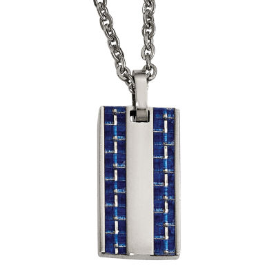Mens Stainless Steel Blue Carbon Fiber Dog Tag Pendant